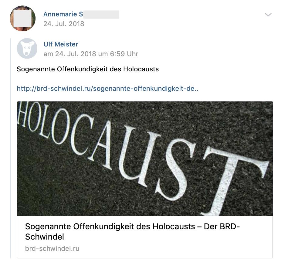 """S. teilt """"Sogenannte Offenkundigkeit des Holocaust"""", Link zu Neonazi-Seite BRD-Schwindel (vk.com 24.7.18)"""