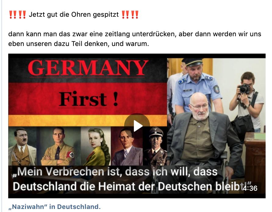 """S. verlinkt über """"Schiggl Groubar"""" zu NS-Propagandavideo: """"'Naziwahn' in Deutschland"""" (vk.com)"""