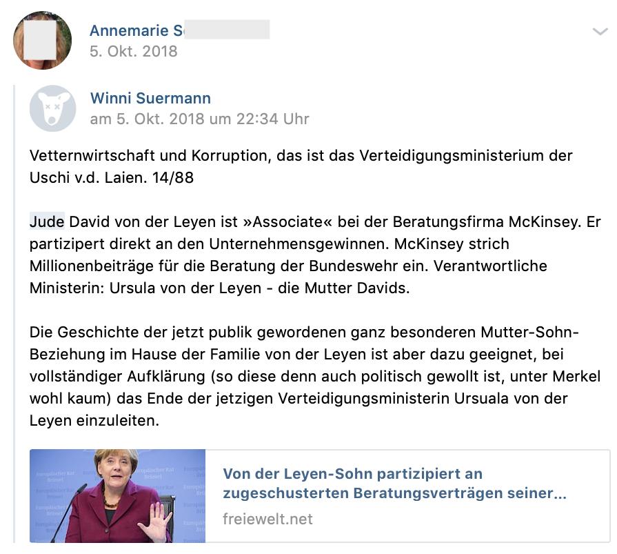 """""""Verteidigungsministerium der Uschi v.d. Laien. 14/88 [NS-Codes] """"Jude David von der Leyen ... (vk.com 5.10.18)"""