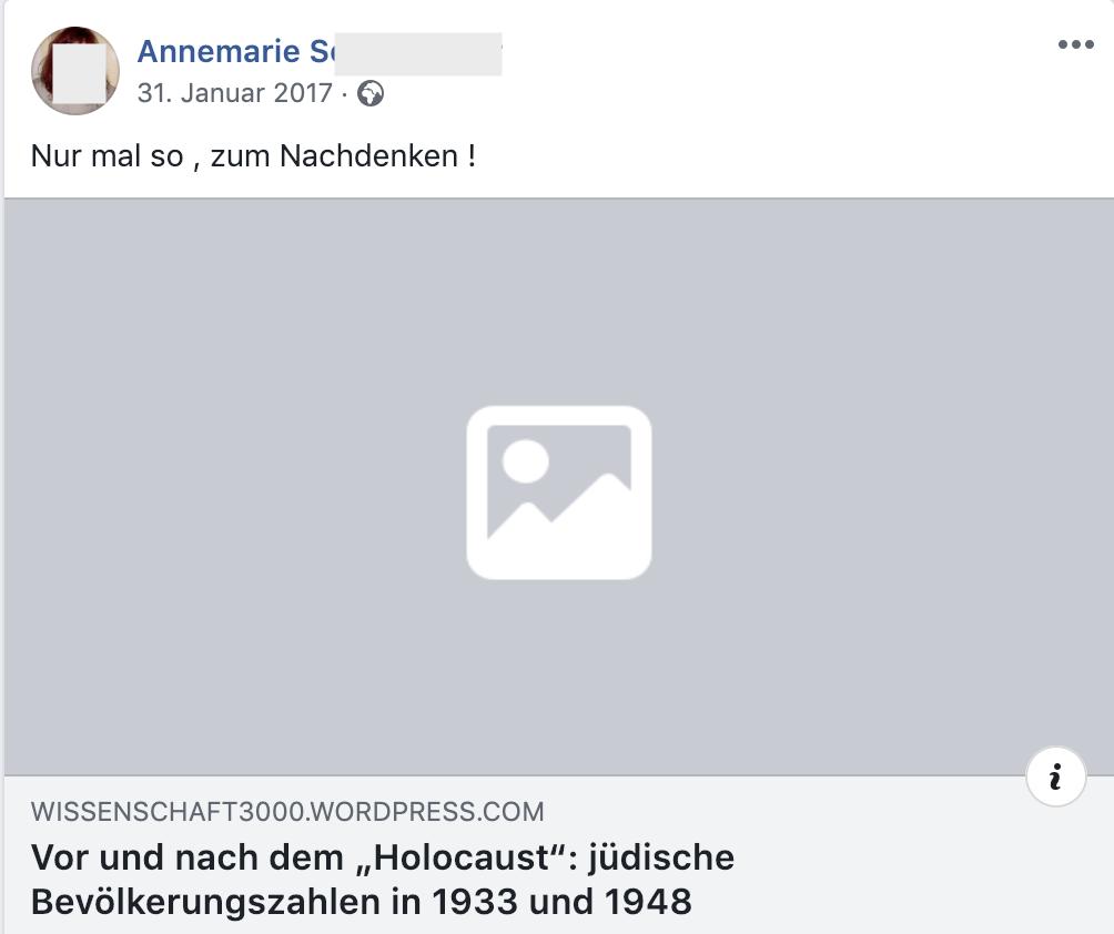 """""""Vor und nach dem """"Holocaust"""": jüdische Bevölkerungszahlen in 1933 und 1948 – führt zu Artikel, der Holocaust leugnet (FB 31.1.17)"""