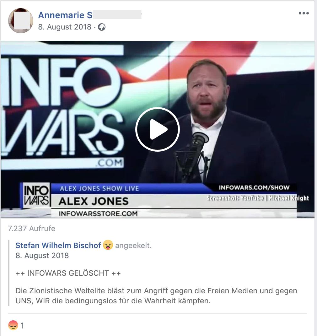 """""""Die zionistische Weltelite bläst zum Angriff gegen die Freien Medien"""" (FB 8.8.18)"""