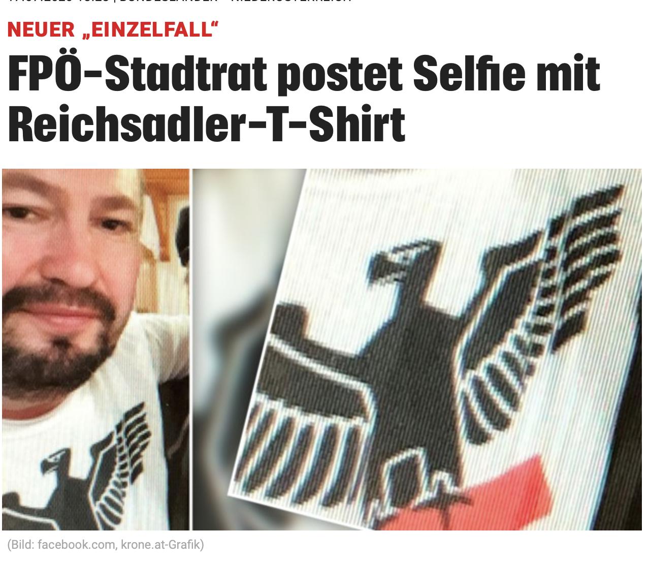 FPÖ-Stadtrat mit NS-Reichsadler (Kronen Zeitung)