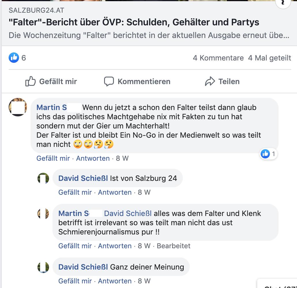"""Über den """"Falter"""": Martin S.: """"alles was dem Falter und Klenk betrifft ist irrelevant so was teilt man nicht das ust Schmierenjournalismus pu !!"""" Schießl: """"Ganz deiner Meinung"""""""