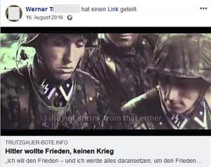 """Werner T. teilt von Neonazi-Seite """"Trutzgauer Bote"""" NS-verharmlosendes Video"""