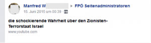 """Antisemitismus von Manfred W.: """"Zionisten-Terrorstaat Israel"""""""