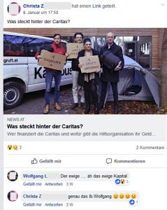"""Wolfgang L. über die Caritas: """" Der ewige .... äh das ewige Kapital"""" Christa Z. stimmt zu."""