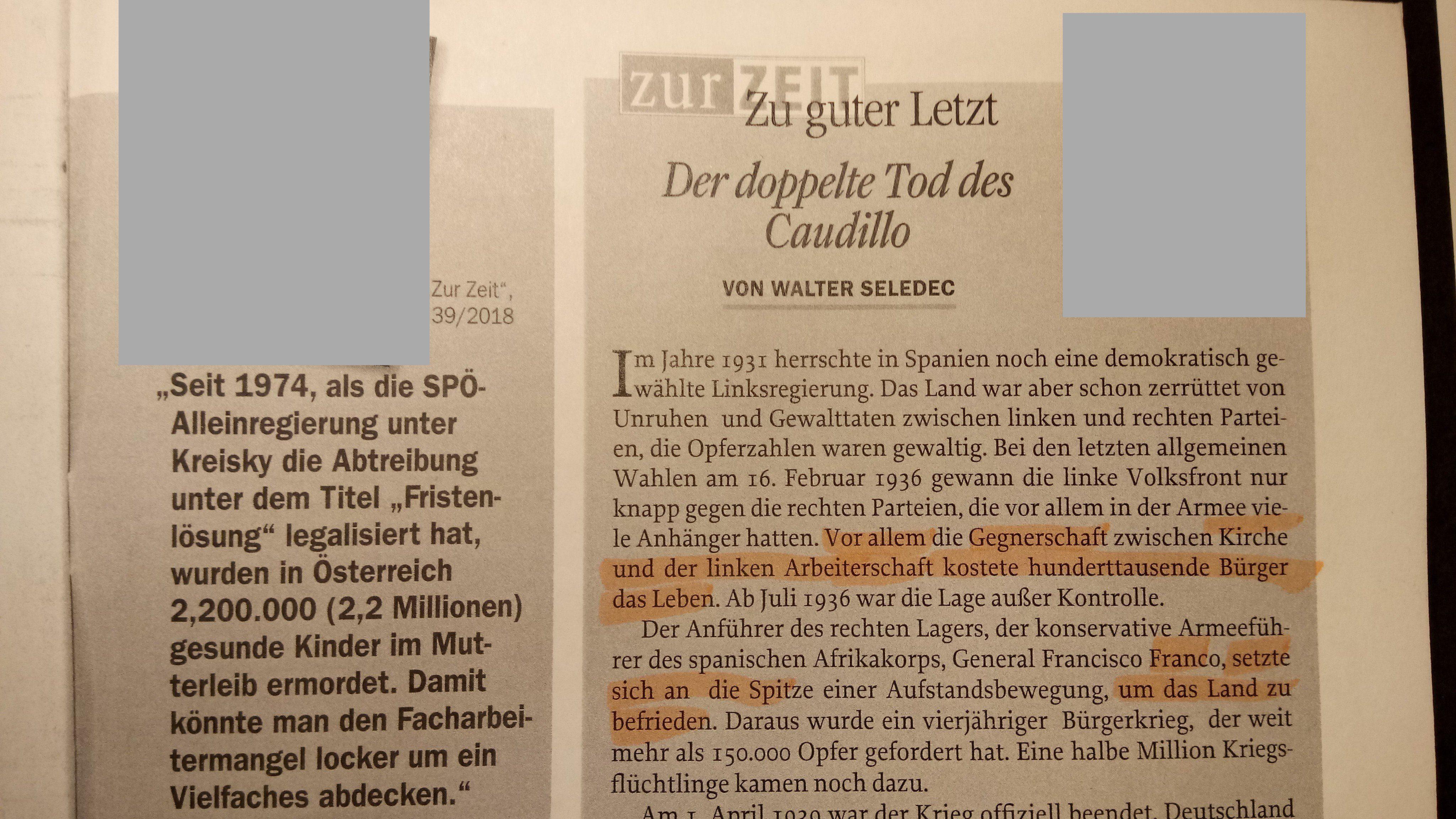 """Walter Seledec in """"Zur Zeit"""" Ausgabe 40/18"""