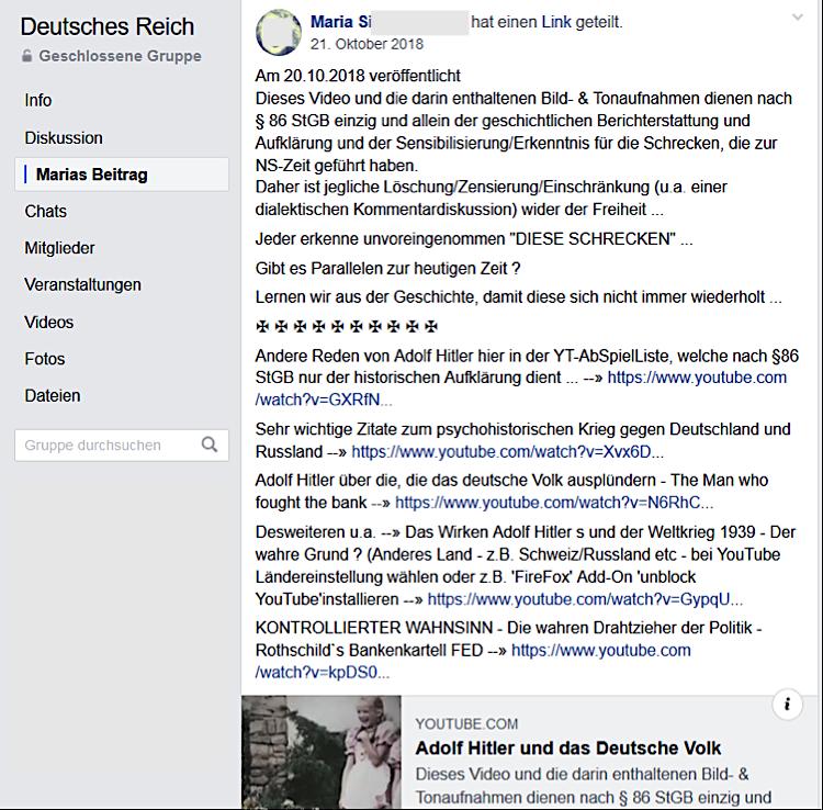 """NS-Propaganda in der Gruppe """"Deutsches Reich"""" (hier Maria S.-W. aus Linz)"""