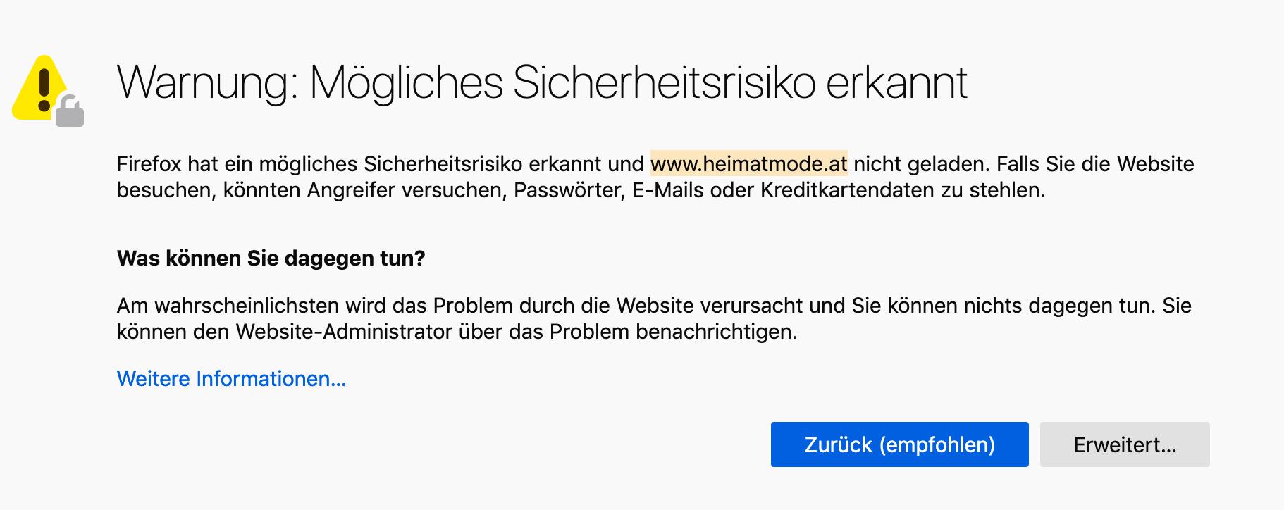 """""""Heimatmode"""" als Sicherheitsrisiko: Falls Sie die Website besuchen, könnten Angreifer versuchen, Passwörter, E-Mails oder Kreditkartendaten zu stehlen."""