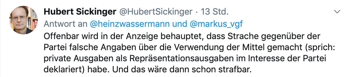 Hubert Sickinger zu den Spesenvorwürfen
