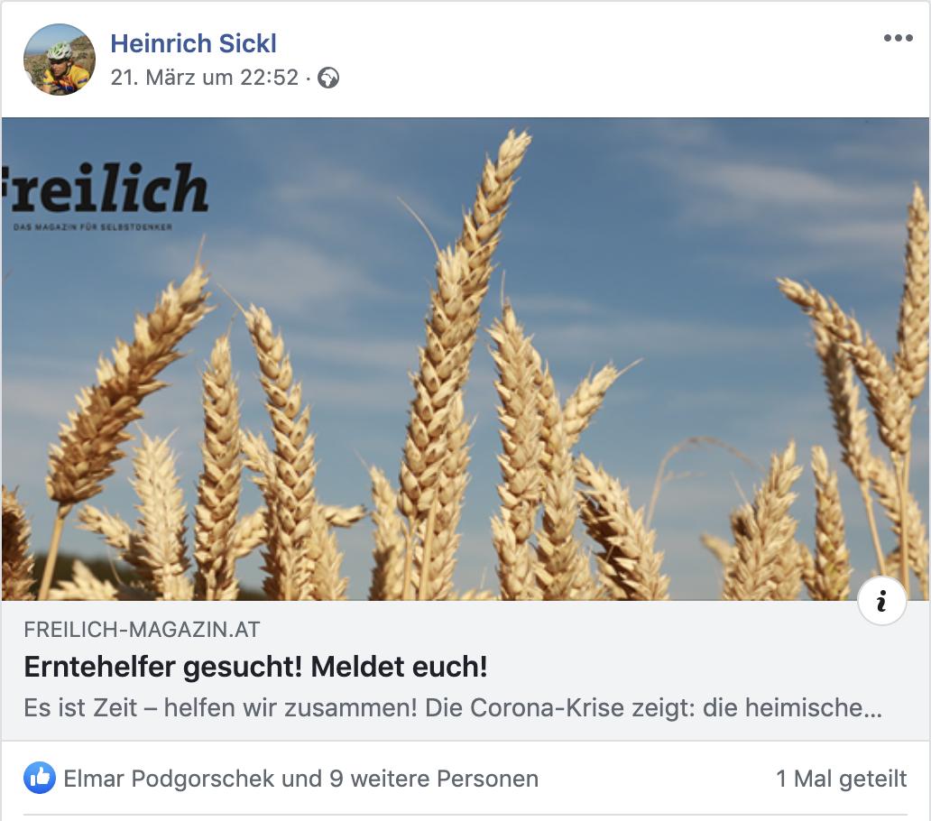 """Sickl und """"Freilich"""" suchen Erntehelfer"""