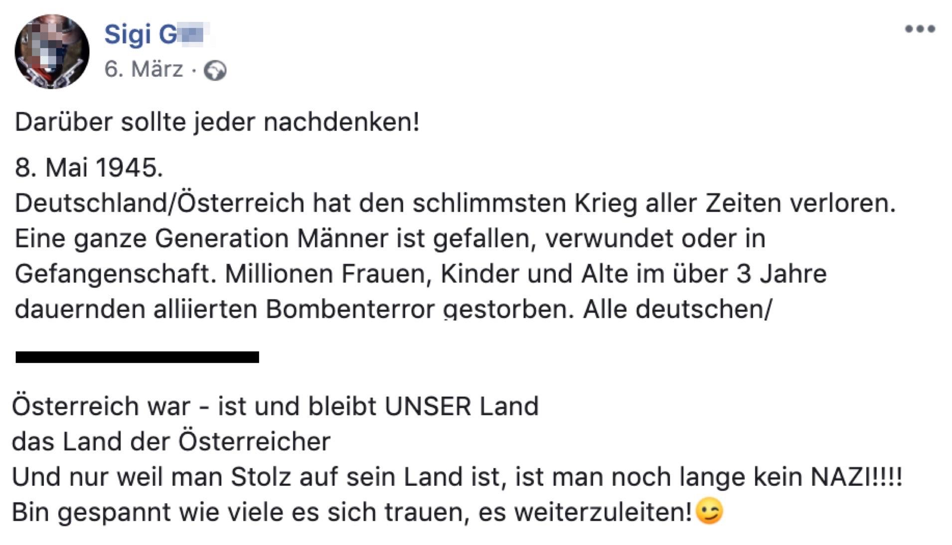 Sigi (G. eigentlich H.) ist nur ein stolzer Österreicher und kein NAZI!!!!