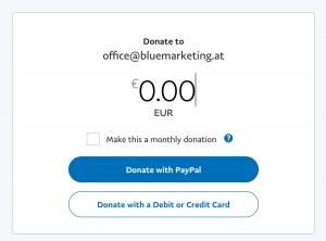 """Spendentool von """"Österreich ist frei"""": """"Donate to office-bluemarkting.at"""""""