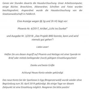 """Spendenaufruf für Ochensberger über Neonazi-Blog: """"Das neue Konto ... wurde wieder ohne begründung zum 30. April 2019 gekündigt. Bis einige Tage vor diesem Zeitpunkt ist eine Einzahlung möglich."""""""