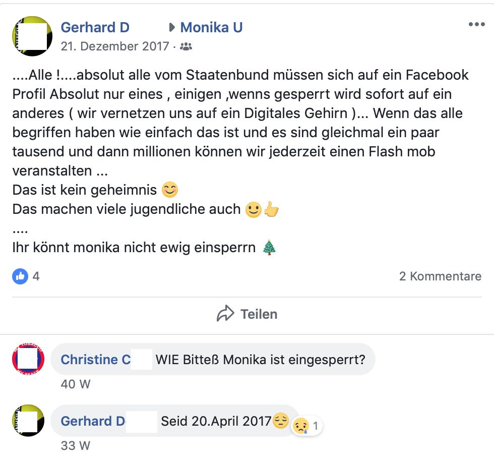Staatenbundfans auf FB-Profil von Monika U. (Screenshot Facebook)