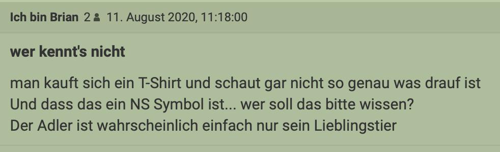 """User aus dem Standard-Forum sarkastisch zum T-Shirt des Erwin Scherz: Der Adler ein """"NS-Symbol ... wer soll das bitte wissen?"""""""