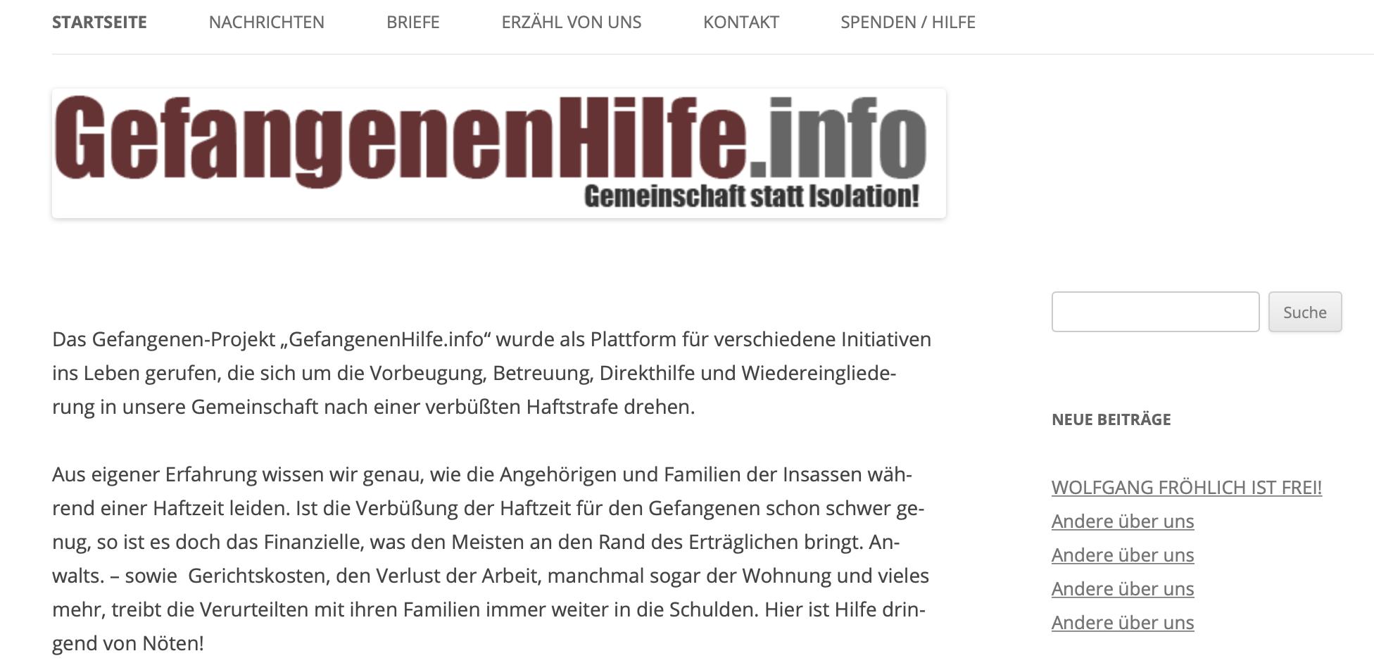 """Website """"Gefangenenhilfe"""""""