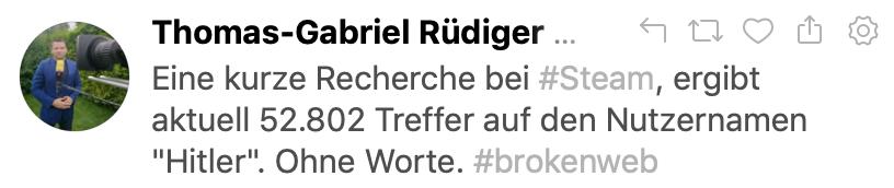 """52.802 User nennen sich auf Steam """"Hitler"""" (Tweet 16.10.19)"""