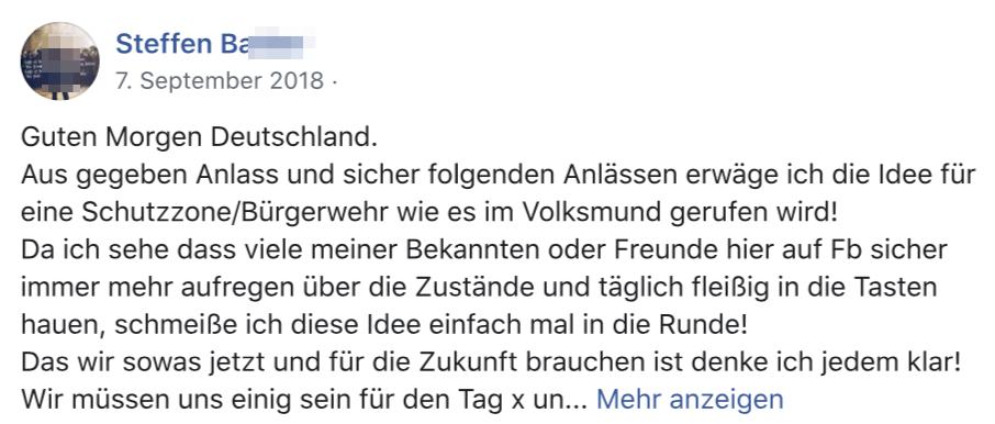 """Steffen B.: """"Schutzzone/Bürgerwehr ... für den Tag x"""""""