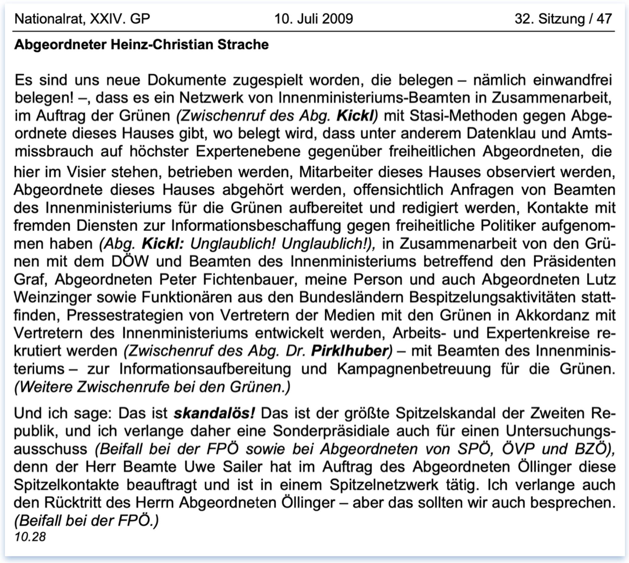 """Stenographisches Protokoll Strache: """"Der größte Spitzelskandal der Zweiten Republik"""" (NR 10.7.2009, S. 46f)"""