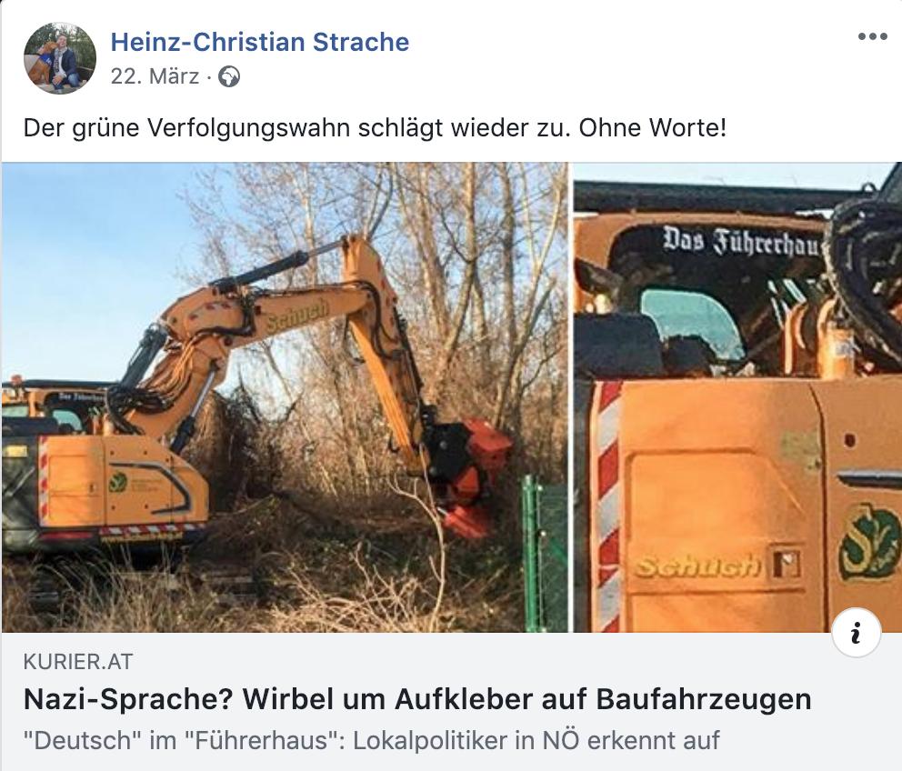 """Strache zu Führerhaus-Aufkleber: """"Der grüne Verfolgungswahn schlägt wieder zu. Ohne Worte!"""""""