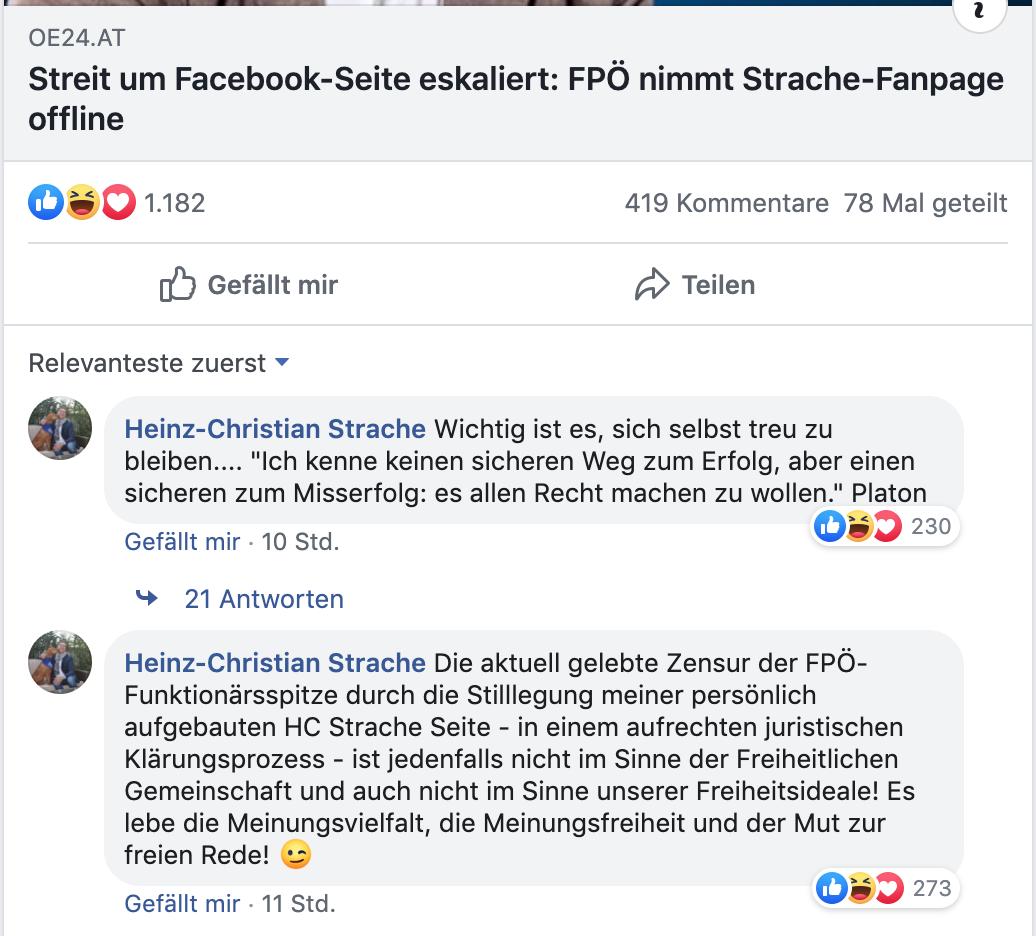 """Strache auf seinem FB-Profil zur Stilllegung seiner Seite: """"Die aktuell gelebte Zensur der FPÖ-Funktionärsspitze ..."""""""