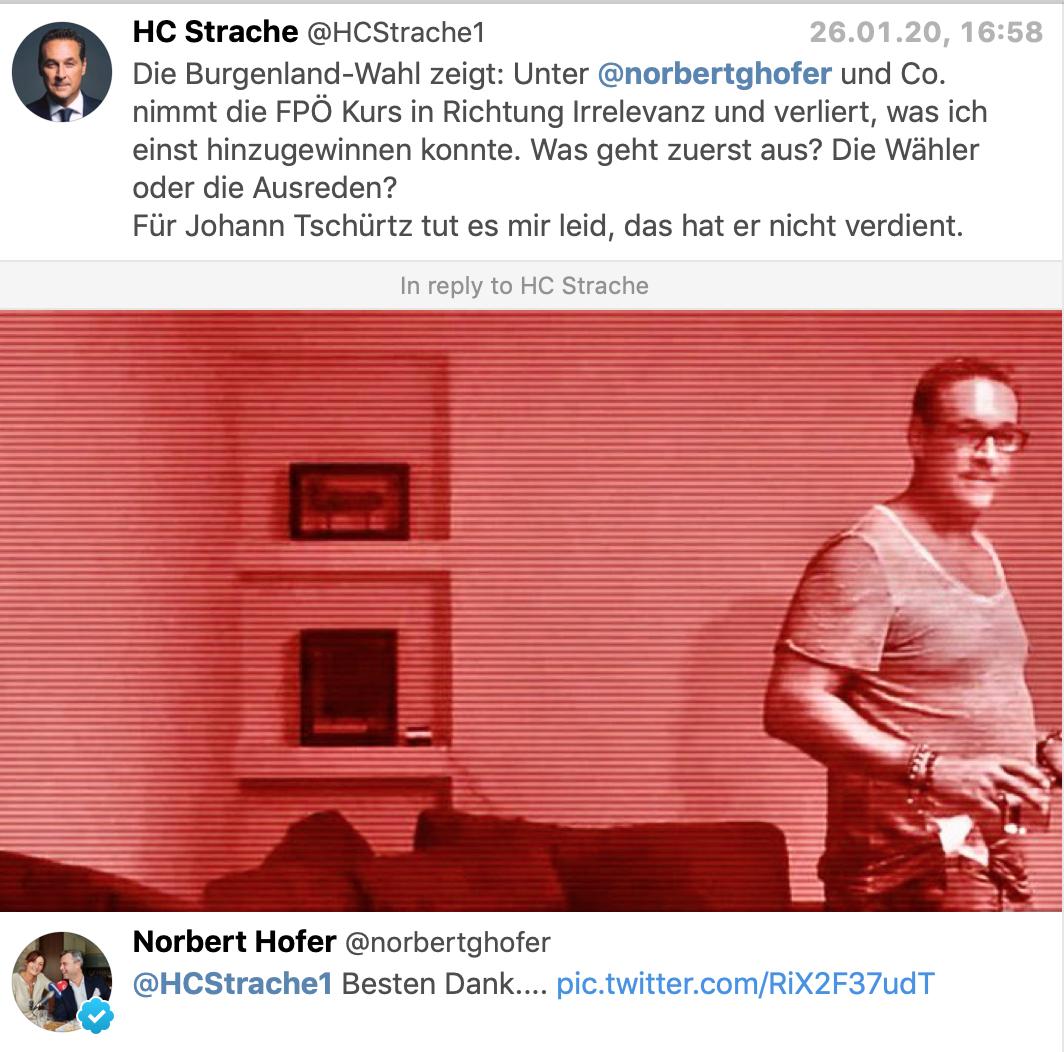 """Strache: """"Die Burgenland-Wahl zeigt: Unter @norbertghofer und Co. nimmt die FPÖ Kurs in Richtung Irrelevanz und verliert, was ich einst hinzugewinnen konnte. Was geht zuerst aus? Die Wähler oder die Ausreden? Für Johann Tschürtz tut es mir leid, das hat er nicht verdient. Hofer mit Ibiza-Bild: Besten Dank.... (Twitter)"""