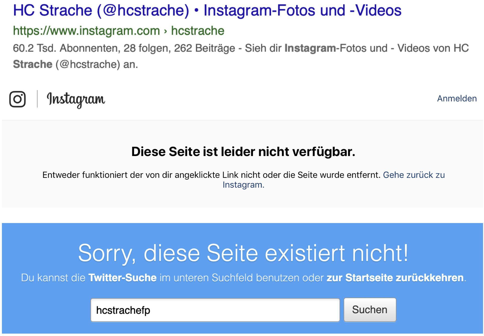 Auch Straches Instagram- und Twitteraccount sind nicht mehr online
