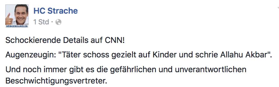 Strache am 23. Juli 2016 zum Attentat eines Rechtsextremen in München