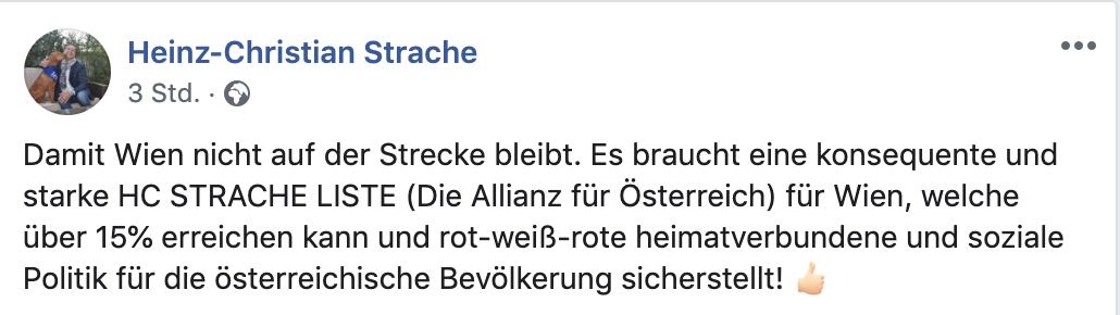 Ankündigung von Strache für eine Kandidatur in Wien (Screenshot FB 12.1.20)