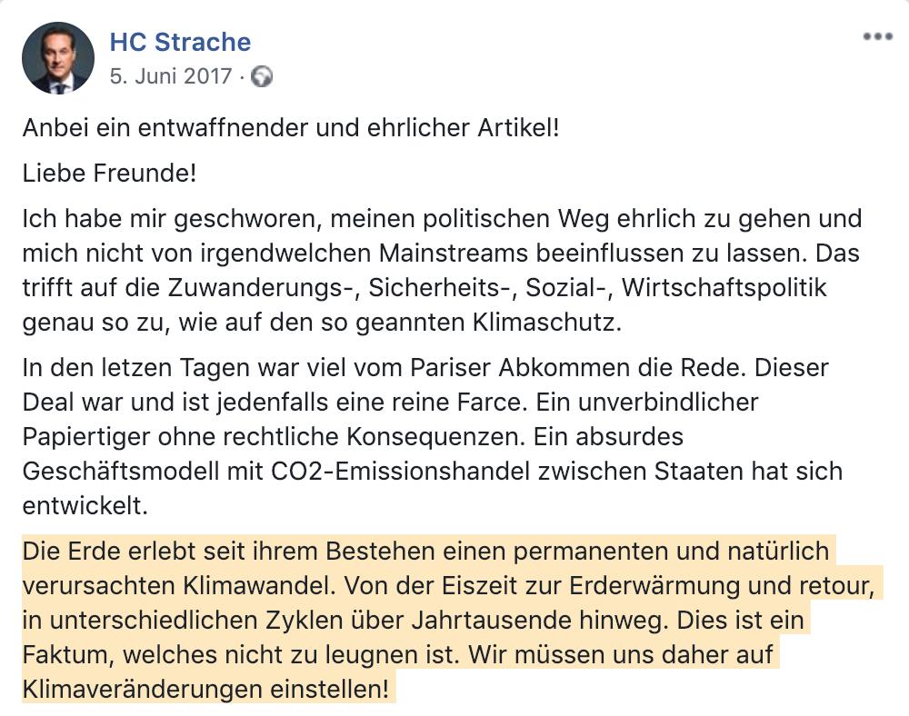 """Strache """"natürlich verursachter Klimawandel"""" (Facebook 2017)"""