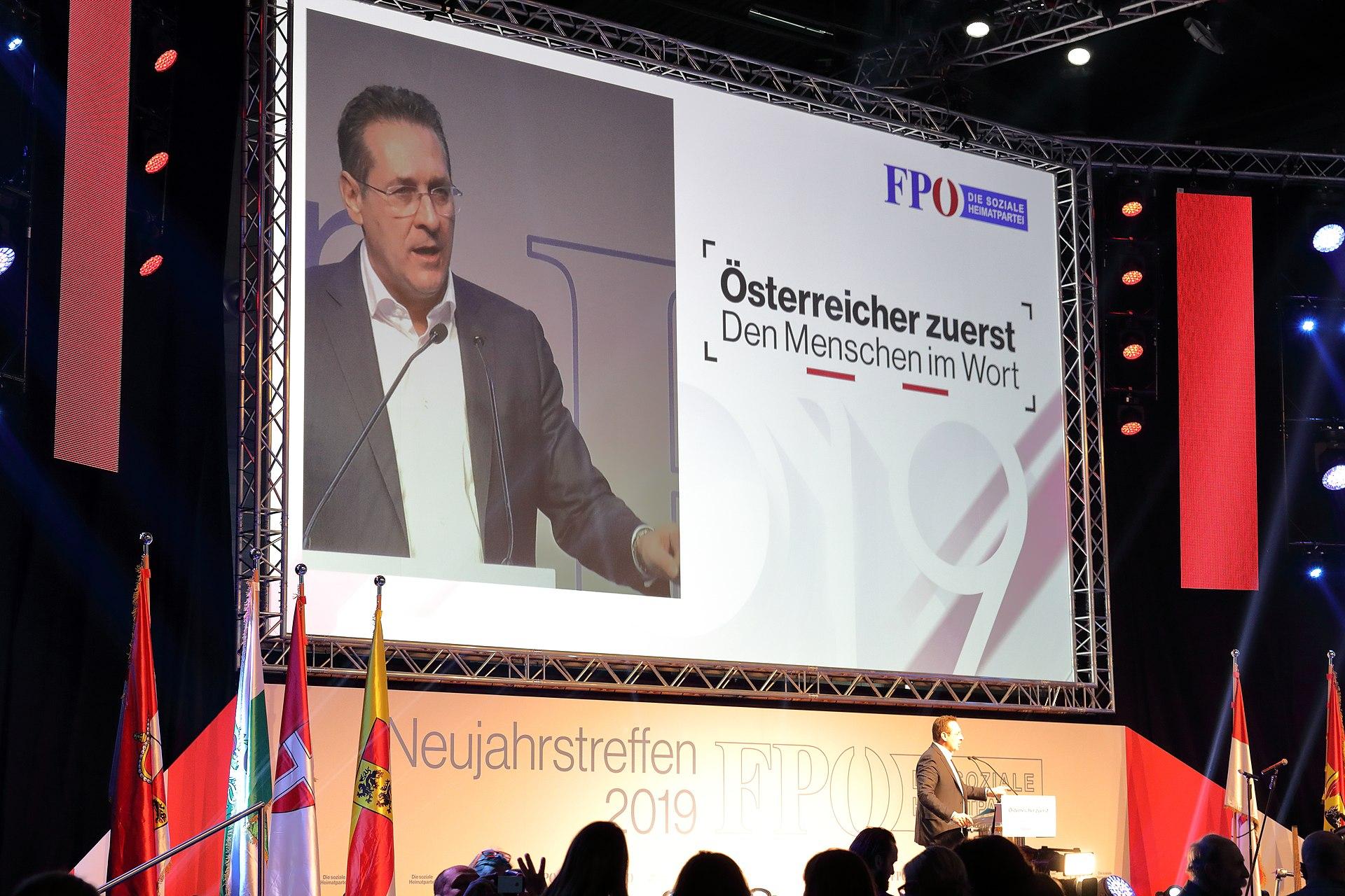 Heinz-Christian Strache bei seinem letzten FPÖ-Neujahrstreffen im Jänner 2019 (© Bwag/Wikimedia)