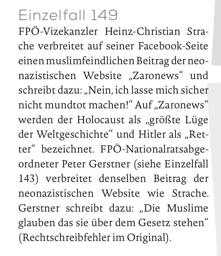 """MKÖ Einzelfall 149: Strache teilt einen Beitrag des Holocaust-leugnenden Blogs """"Zaronews"""""""
