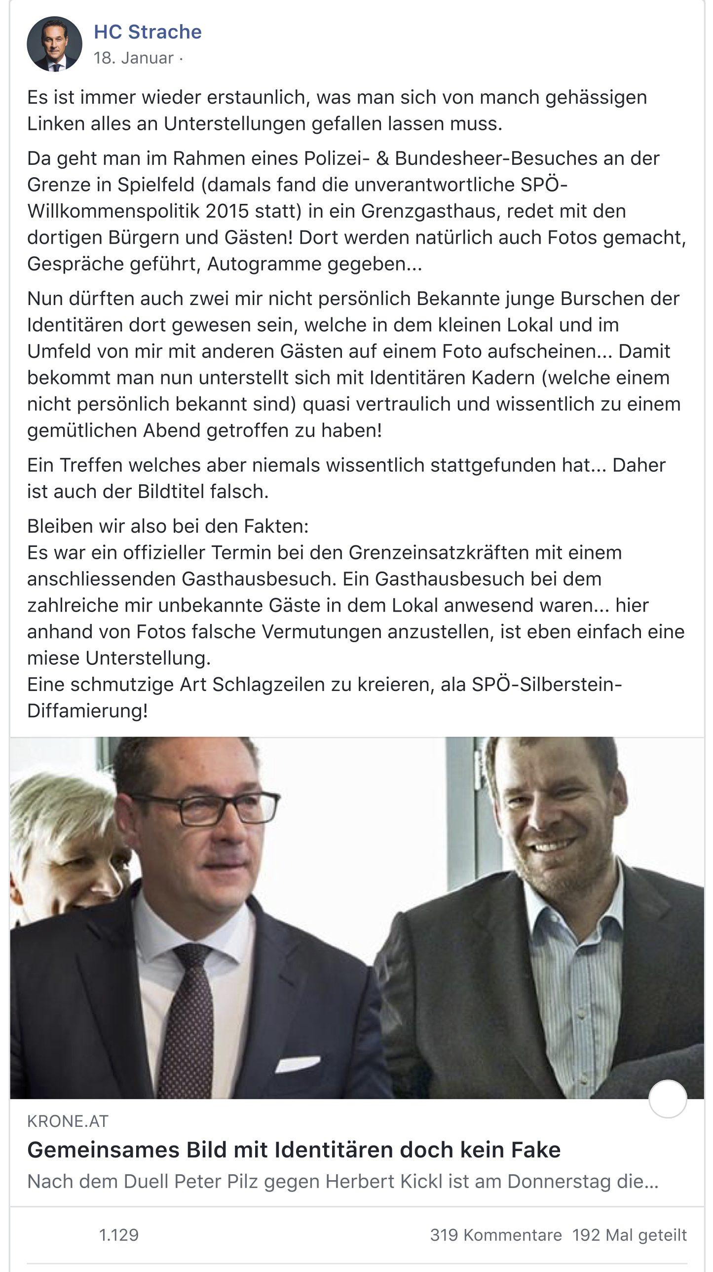 """Strache zum Zusammentreffen mit Identitären in Spielfeld/Straß: """"Treffen welches niemals wissentlich stattgefunden hat"""""""