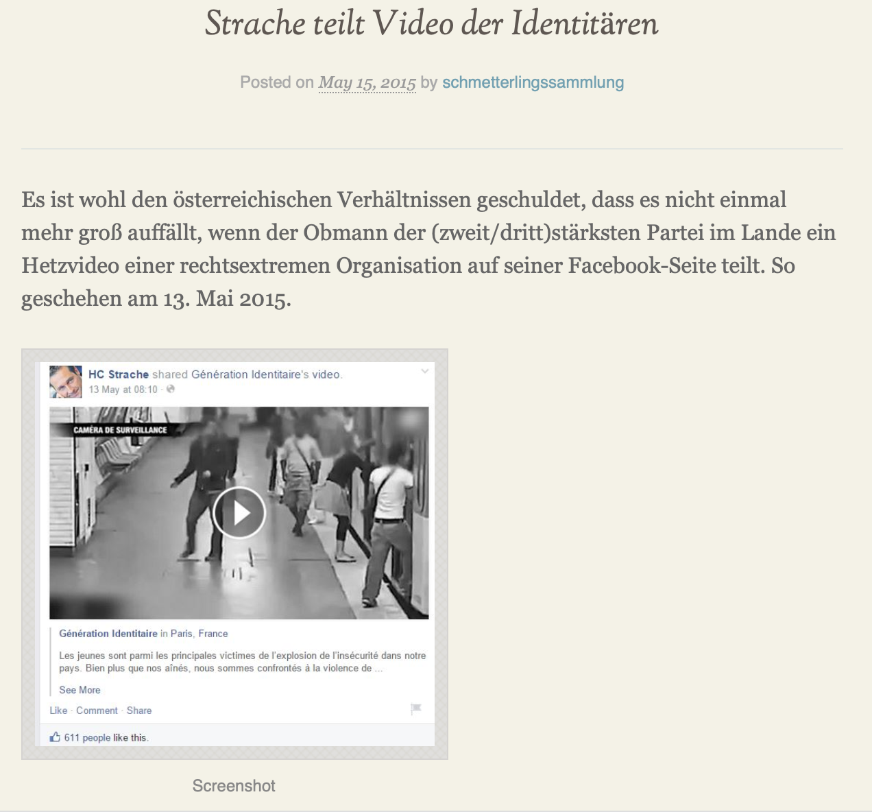 "Strache teilt Video der ""Géneration Identitaire"" (Mai 2015) (Screenshot schmetterlingssammlung)"