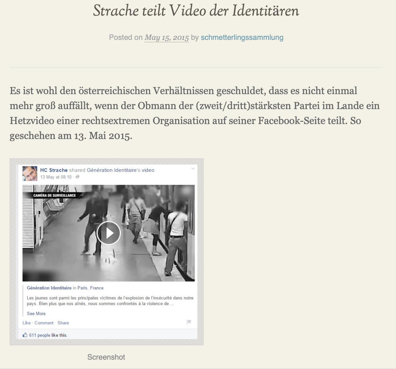 "Strache teilt Video der ""Géneration Identitaire"" (Mai 2015) (Screenshot schmetterlingssammlung)"