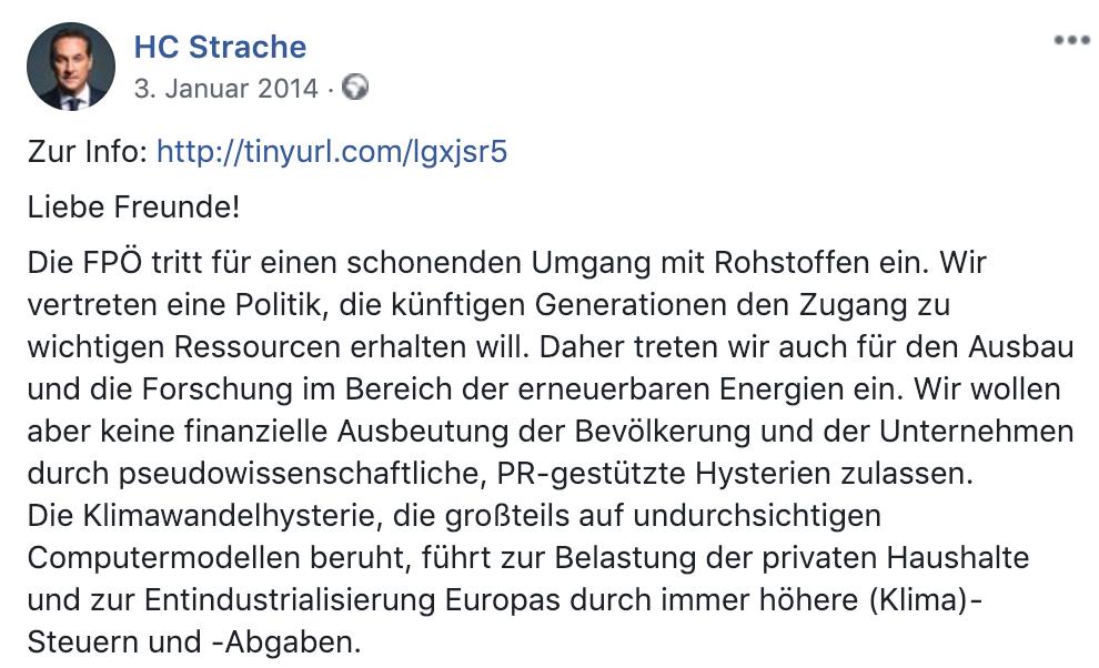 "Strache ""Klimawandelhysterie"" (Facebook 2014)"