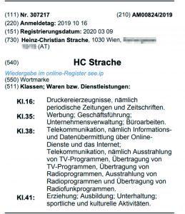 """Wortmarke """"HC Strache"""""""