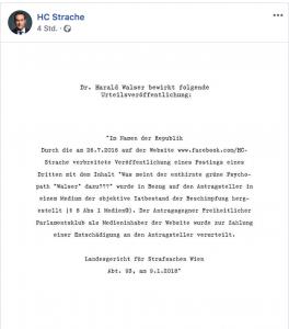 Schreenshot: Veröffentlichung des Urteils auf Straches FB-Seite
