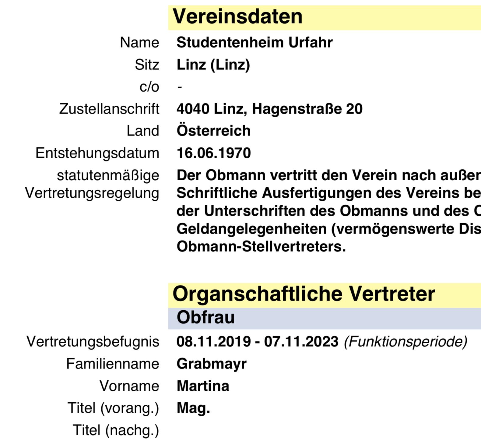 Verein Studentenheim Urfahr: Vereinsobfrau Martina Grabmayr