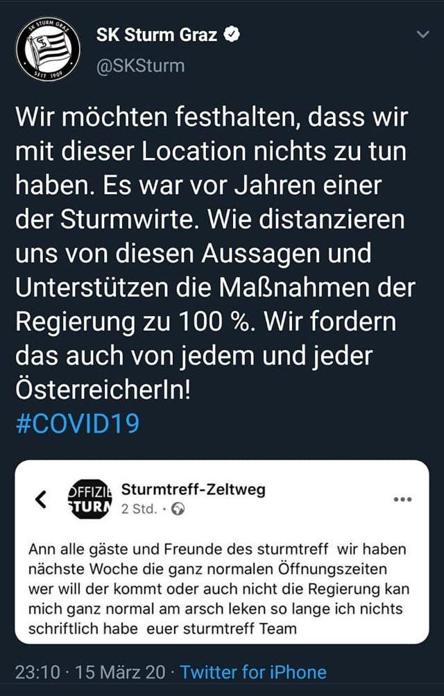 """Distanzierung des SK Sturm vom """"Sturmtreff""""-Wirt"""