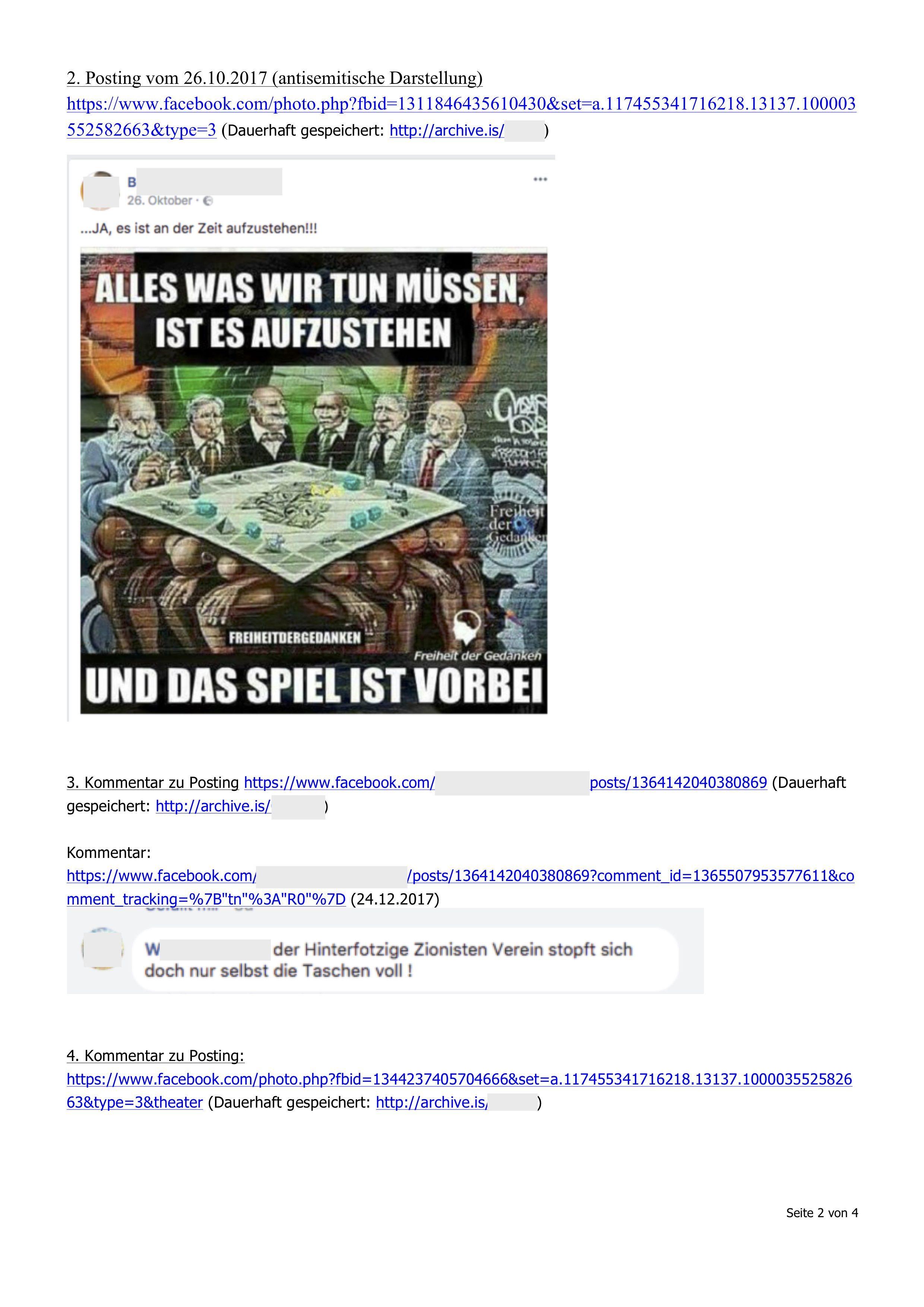 Sachverhaltsdarstellung: Links und Screenshots (Beispiele für mutmaßliche Verhetzung)