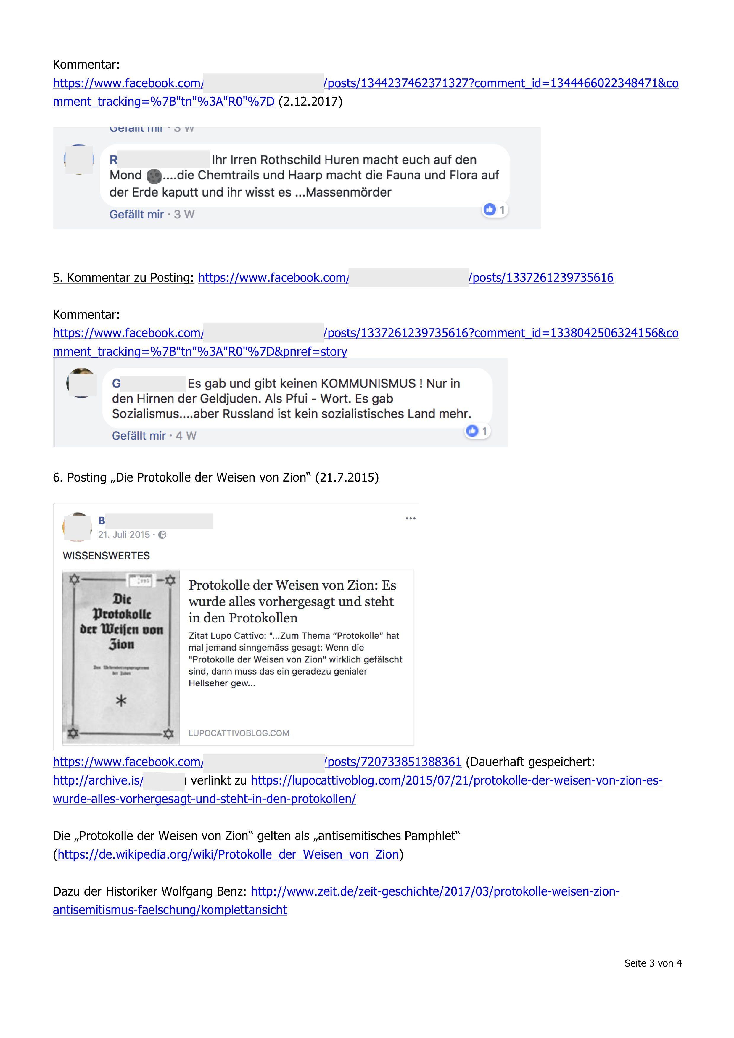 Sachverhaltsdarstellung: Links und Screenshots (Beispiele zu mutmaßlicher Verhetzung)