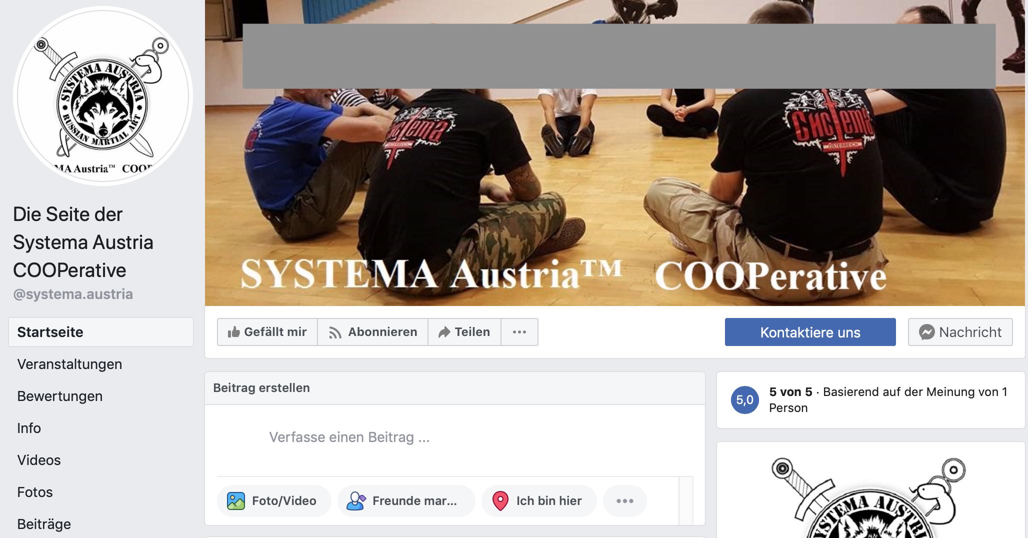 """Facebookauftritt von """"Systema Austria"""""""