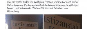 """Sturmzeichenverlag nach dem Prozess gegen W. Fröhlich: """"Zu den ersten Gratulanten gehörte sein langjähriger Freund und Veteran der Waffen-SS, Herbert Belschan von Mildenburg."""" (Screenshot Facebook)"""
