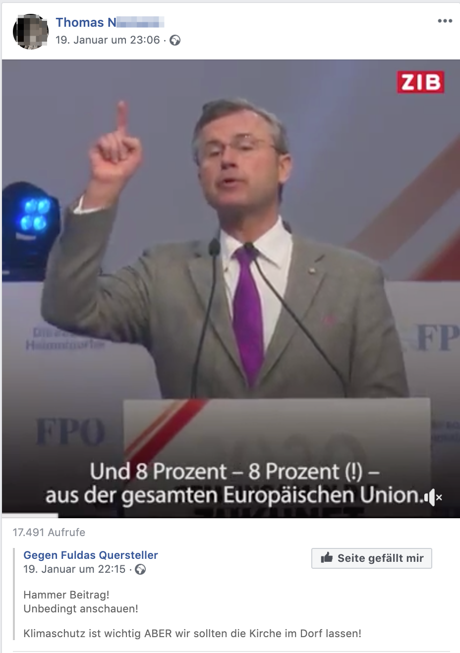 Thomas N. teilt Video mit Norbert Hofer