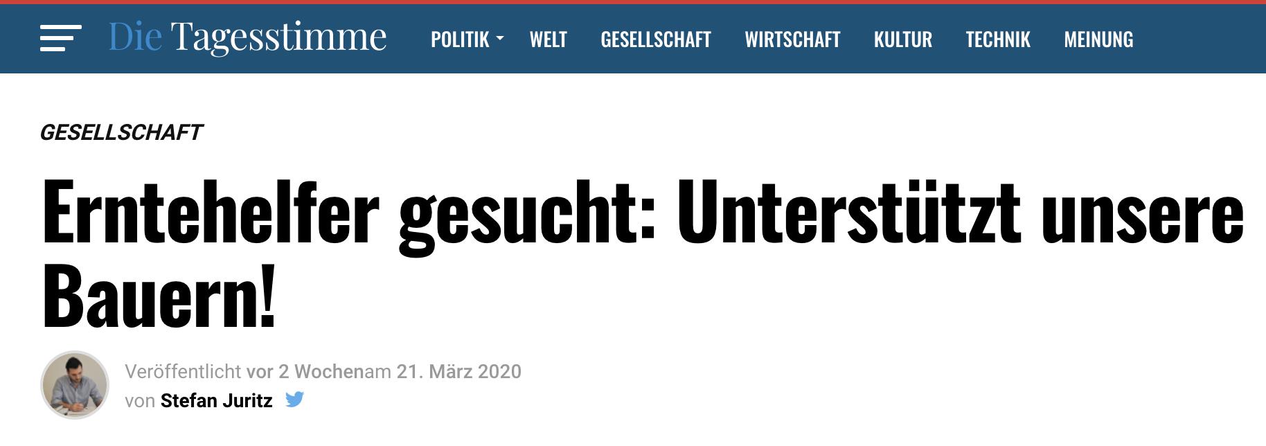 """Juritz sucht mit der """"Tagesstimme"""" Erntehelfer"""
