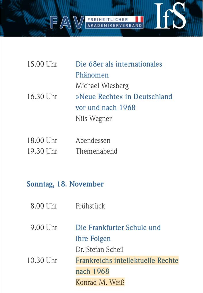 Tagungsprogramm IFS/FAV Nov. 2018 (Semriach) mit Konrad Weiß als Vortragenden