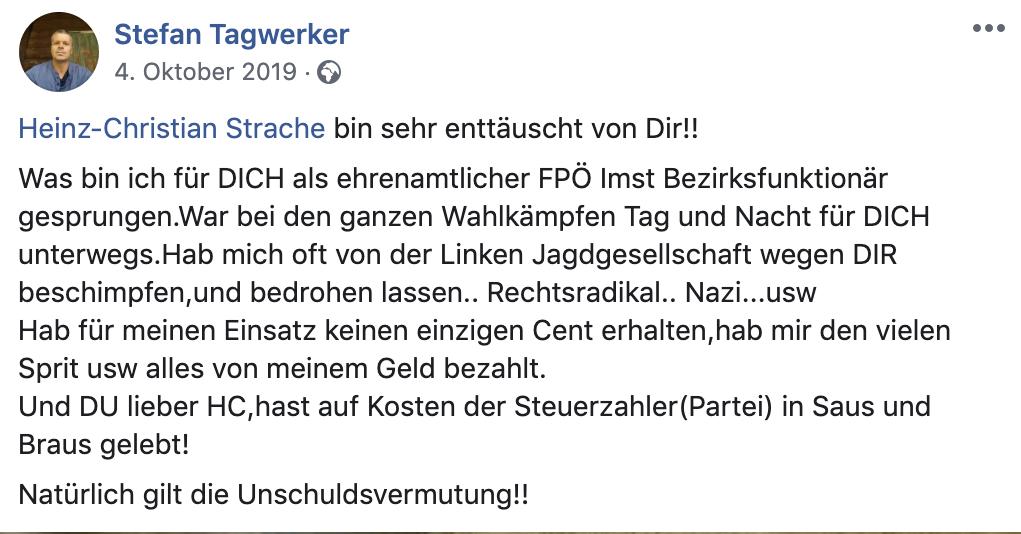 """Stefan Tagwerker: """"Heinz-Christian Strache bin sehr enttäuscht von Dir!!"""""""