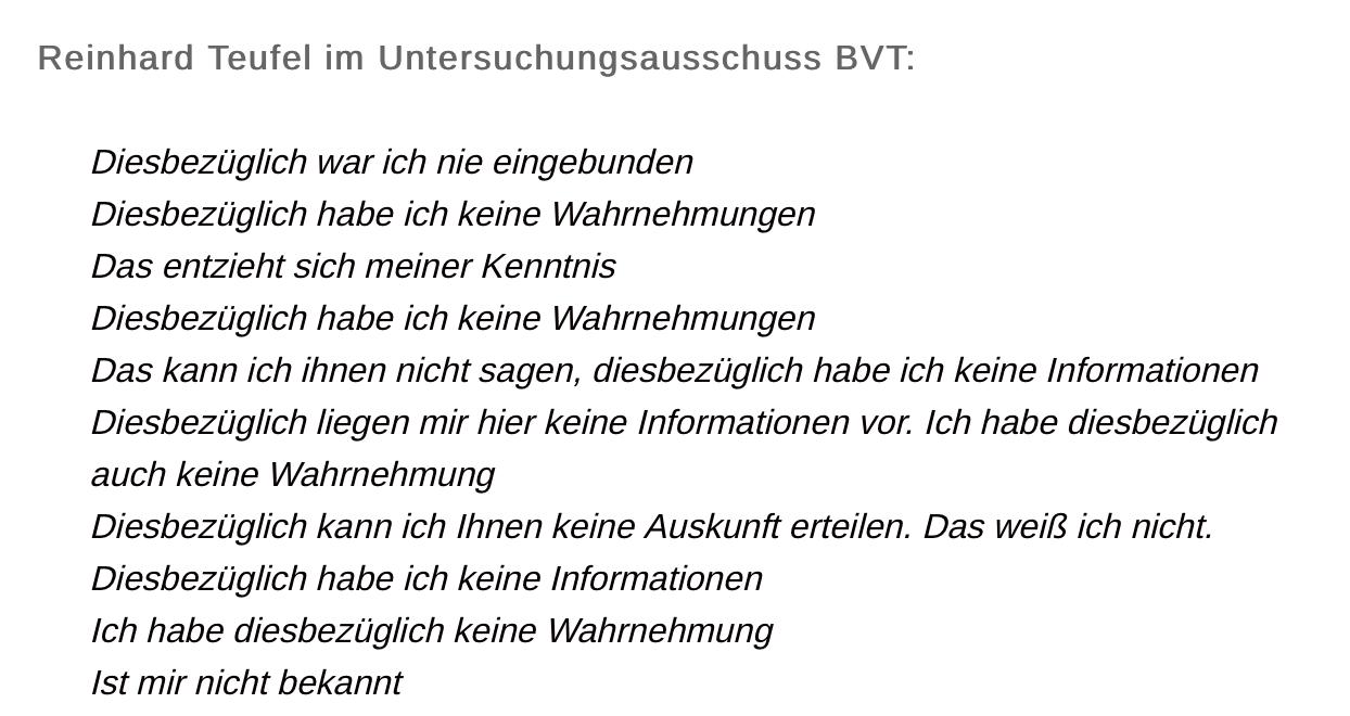 Reinhard Teufel im BVT-U-Ausschuss (Auszug)